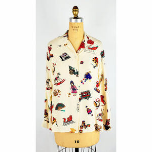 First Issue Holiday 100% Silk Blouse